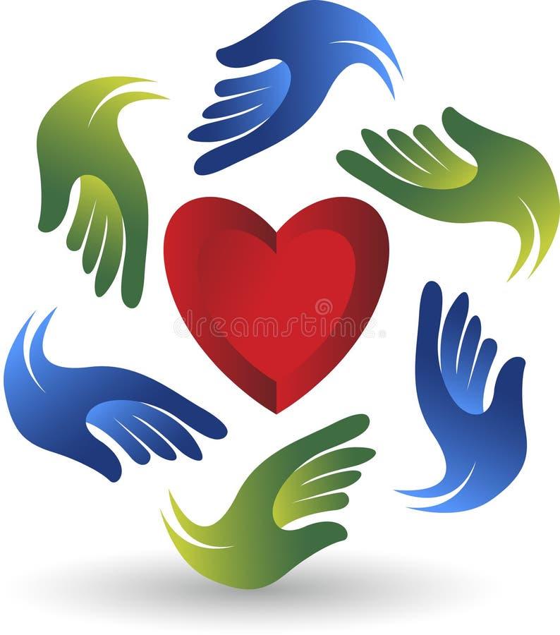 Entrega o logotipo do coração ilustração do vetor