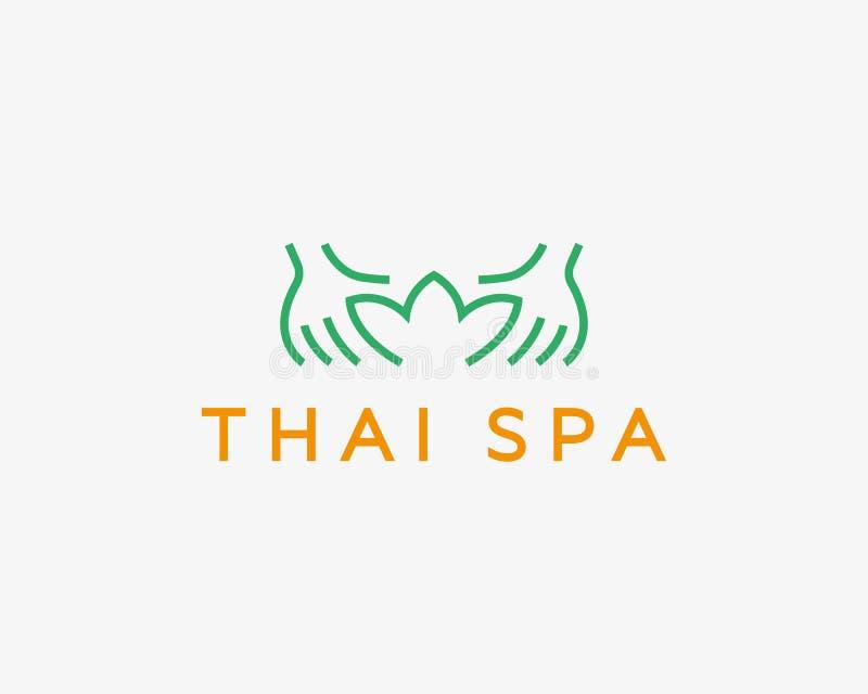 Entrega o logotype do vetor do spa resort dos lótus Projeto criativo do logotipo do salão de beleza da massagem da beleza ilustração stock
