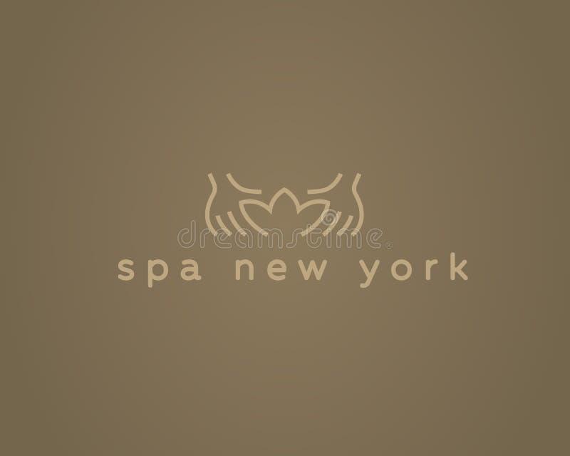 Entrega o logotype do vetor do spa resort dos lótus Projeto criativo do logotipo do salão de beleza da massagem da beleza fotografia de stock royalty free