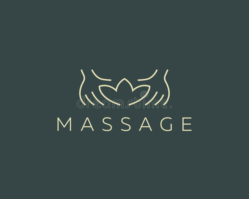 Entrega o logotype do vetor do spa resort dos lótus Projeto criativo do logotipo do salão de beleza da massagem da beleza ilustração royalty free
