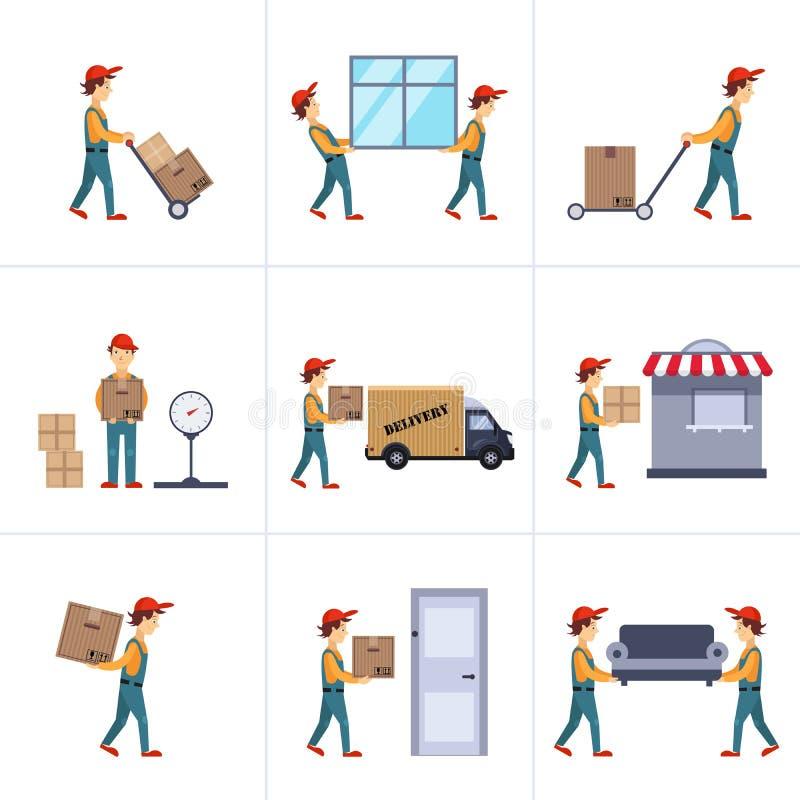 Entrega Person Freight Logistic Business Service ilustração do vetor