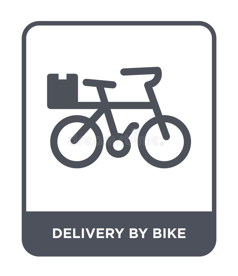 entrega por el icono de la bici en estilo de moda del diseño entrega por el icono de la bici aislado en el fondo blanco entrega p stock de ilustración