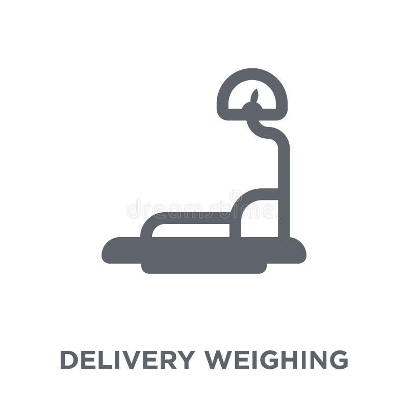 Entrega que pesa o ícone da entrega e da coleção logística ilustração stock