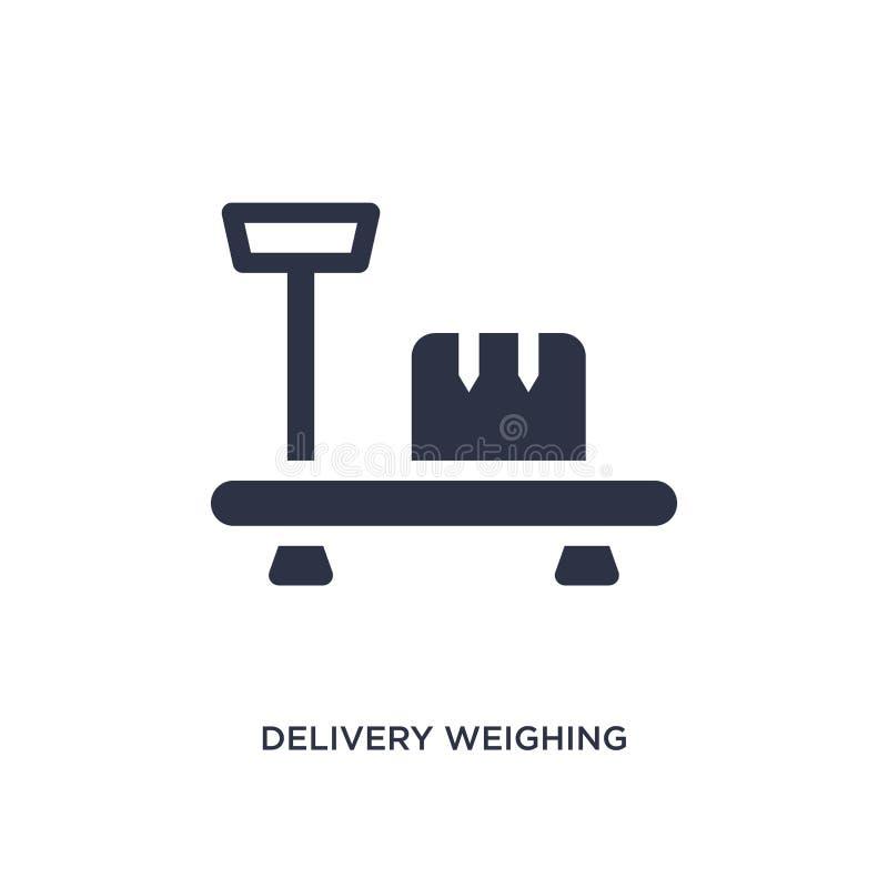 entrega que pesa o ícone no fundo branco Ilustração simples do elemento do conceito da entrega e da logística ilustração stock