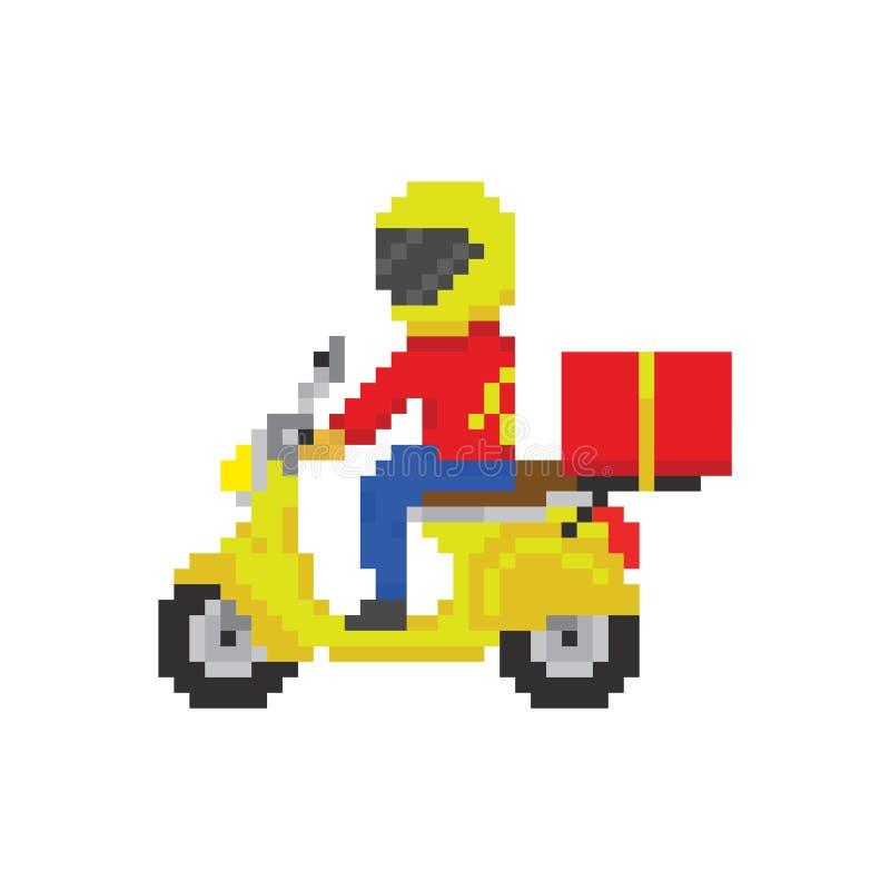 Entrega rápida de la moto de la vespa en estilo del juego del arte del pixel ilustración del vector