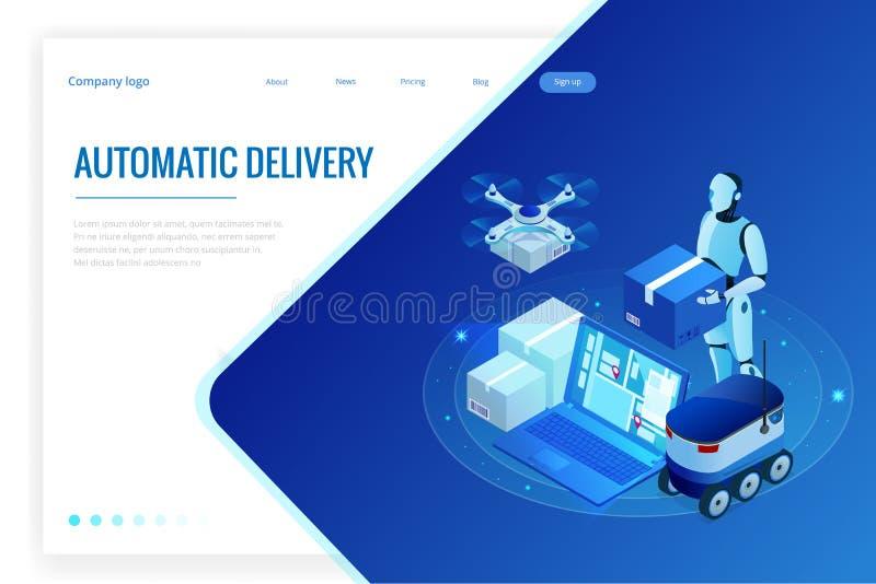 Entrega rápida del abejón isométrico de mercancías en la ciudad Concepto tecnológico de la innovación del envío Logística autónom ilustración del vector