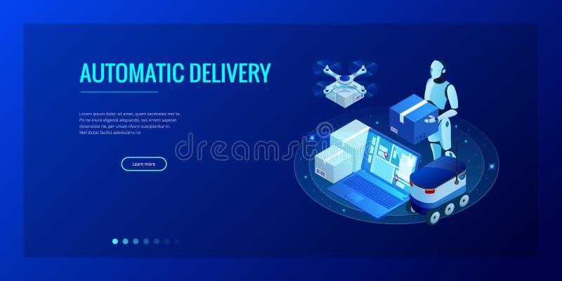 Entrega rápida del abejón isométrico de mercancías en la ciudad Concepto tecnológico de la innovación del envío Logística autónom stock de ilustración