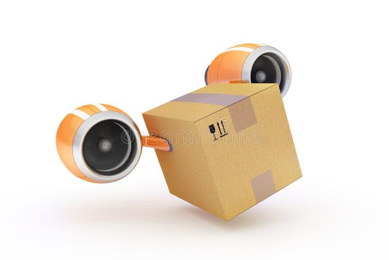 Entrega rápida del cargo en una caja de cartón en un fondo blanco fotos de archivo libres de regalías
