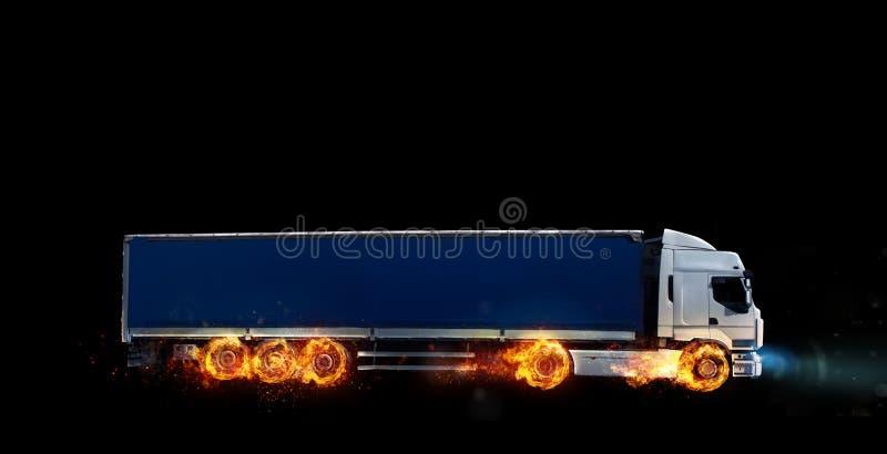 Entrega rápida super do serviço do pacote com um caminhão com as rodas no fogo imagens de stock