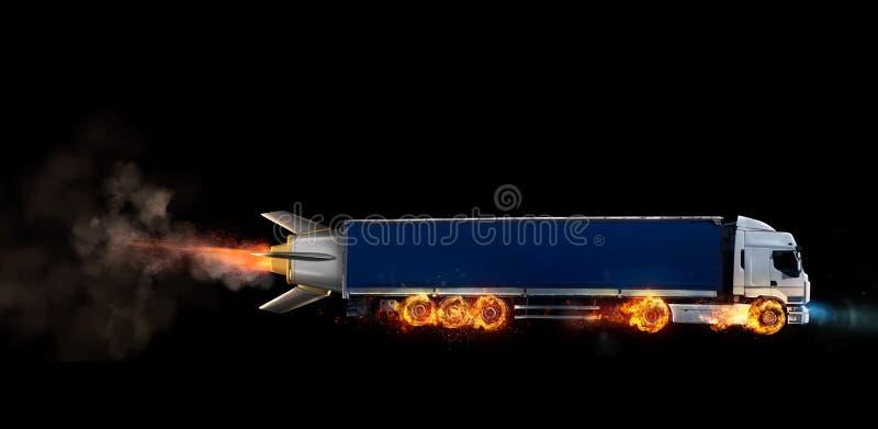 Entrega rápida super do serviço do pacote com um caminhão com as rodas no fogo imagem de stock