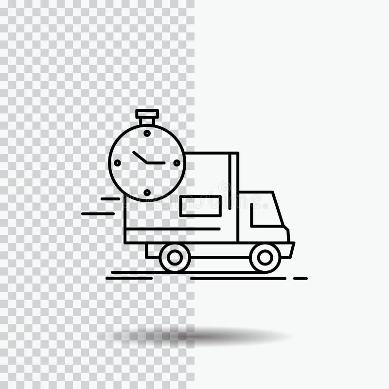 entrega, tiempo, envío, transporte, línea icono del camión en fondo transparente Ejemplo negro del vector del icono libre illustration