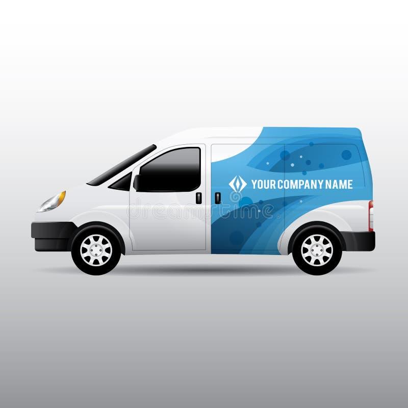 Entrega Van - projeto da propaganda e da identidade corporativa ilustração royalty free