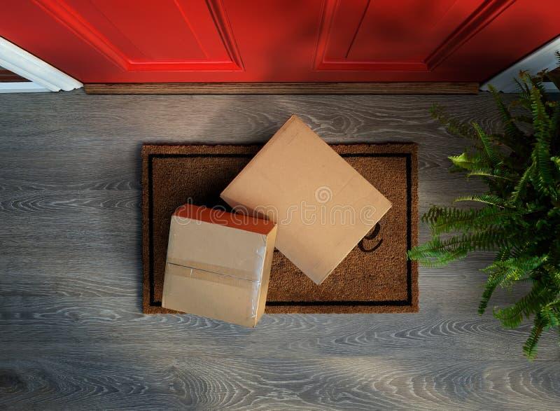 Entregado a la puerta, compras en línea en hurto del riesgo del felpudo imagen de archivo libre de regalías