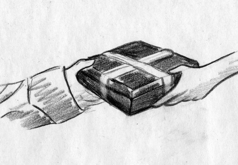 Entregando um presente em uma caixa ilustração do vetor