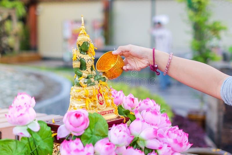 Entregue a água de derramamento a buddha esmeralda com lótus cor-de-rosa no festival de Songkran fotografia de stock
