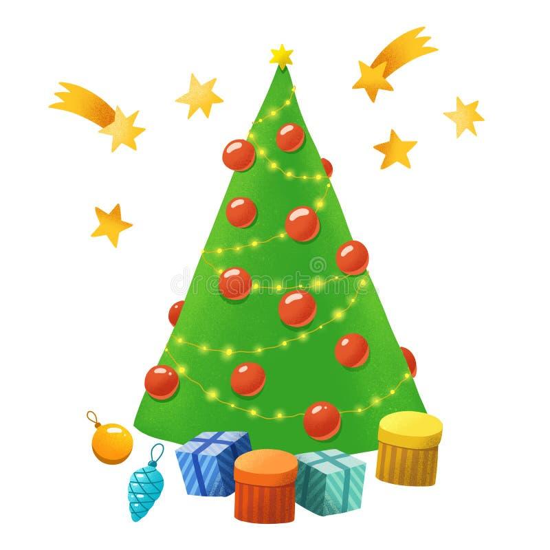 Entregue a árvore de Natal simples tirada, estrelas, presentes, brinquedos da árvore ilustração royalty free