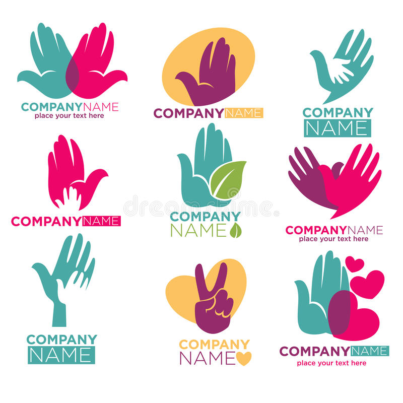 Entregue ícones do vetor do coração para a empresa da doação do ot da caridade ilustração royalty free