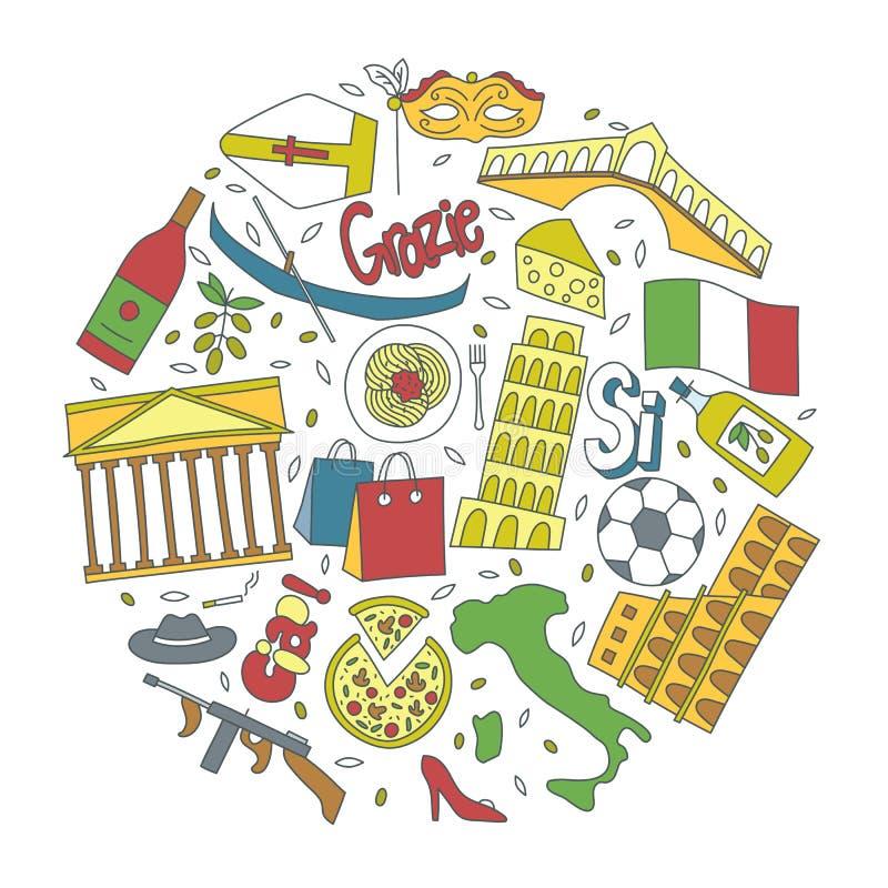 Entregue ícones tirados com símbolos de Itália - bandeira da pizza do azeite do vinho do futebol do teatro do carnaval da máfia d ilustração stock