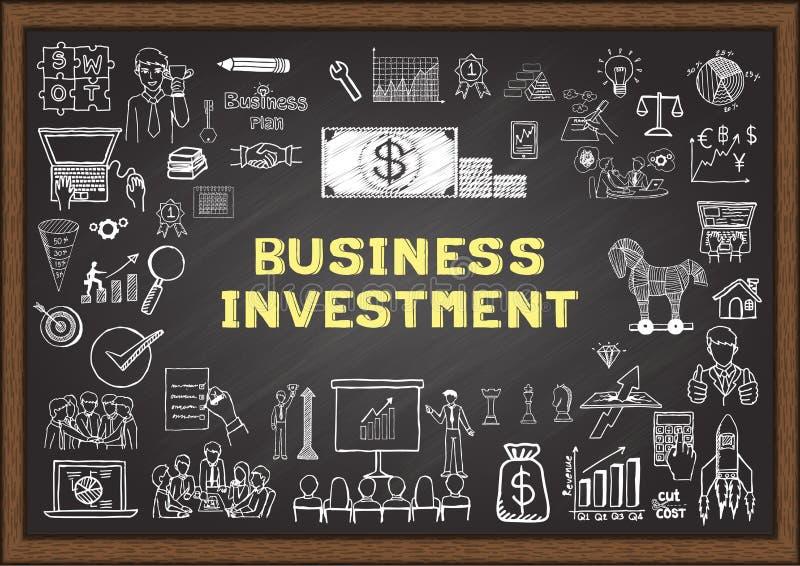 Entregue ícones tirados do negócio sobre o INVESTIMENTO EMPRESARIAL no quadro ilustração stock