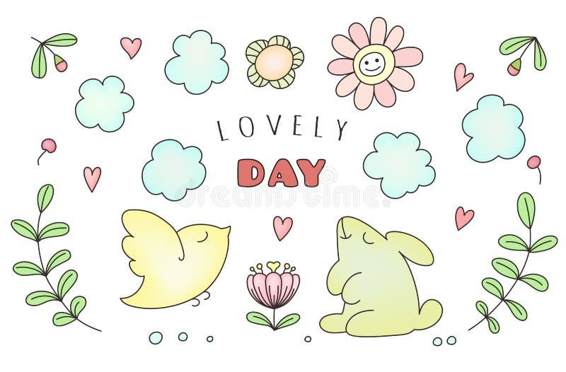 Entregue animais da garatuja, o sol e a nuvem bonitos tirados, flores Ilustração do vetor para crianças ilustração do vetor