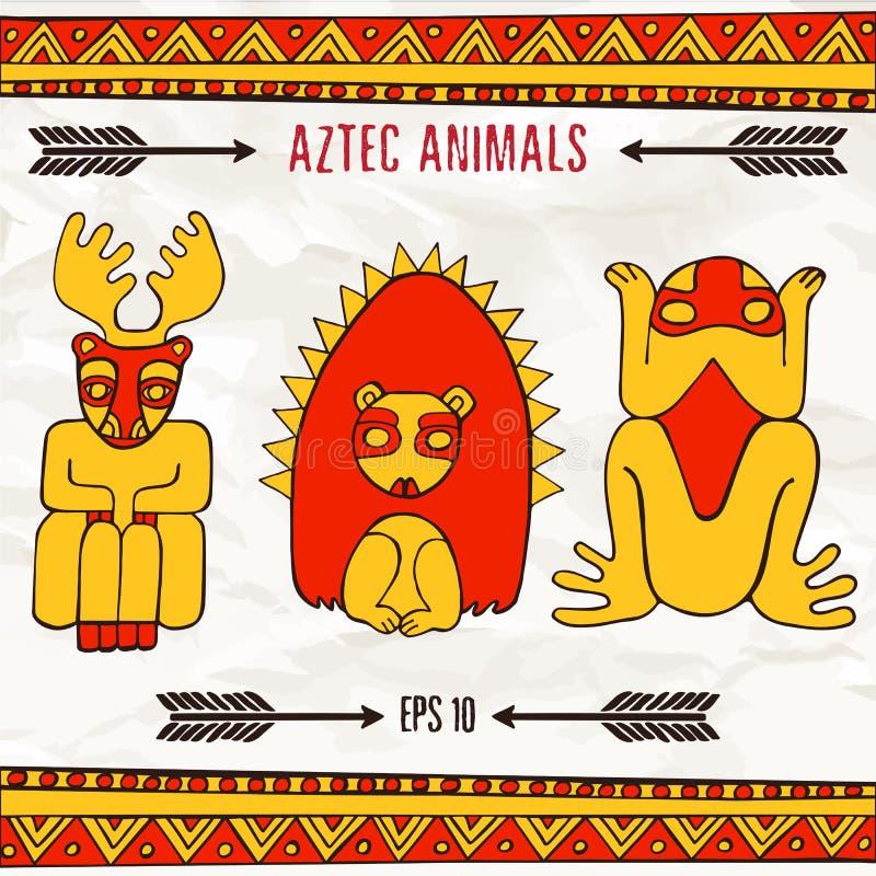 Entregue animais fantásticos astecas tirados em cores vermelhas e amarelas ilustração royalty free