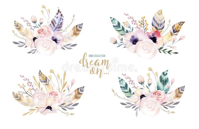 Entregue a aquarela isolada desenho a ilustração floral com folhas, ramos, flores e penas arte do Watercolour do índigo ilustração do vetor