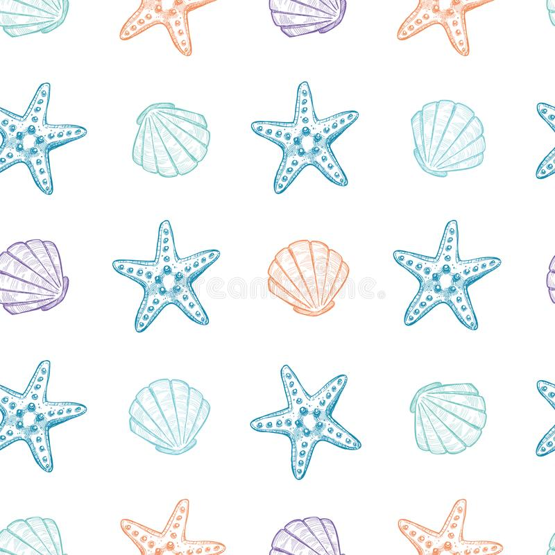 Entregue as ilustrações tiradas do vetor - teste padrão sem emenda das conchas do mar ilustração stock