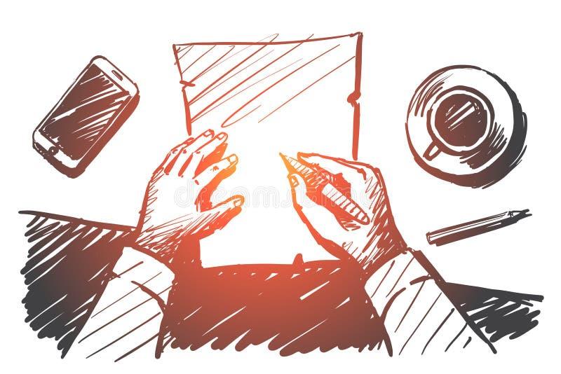 Entregue as mãos tiradas do homem de negócios que fazem anotações no papel ilustração royalty free