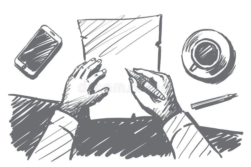 Entregue as mãos tiradas do homem de negócios que fazem anotações no papel ilustração do vetor