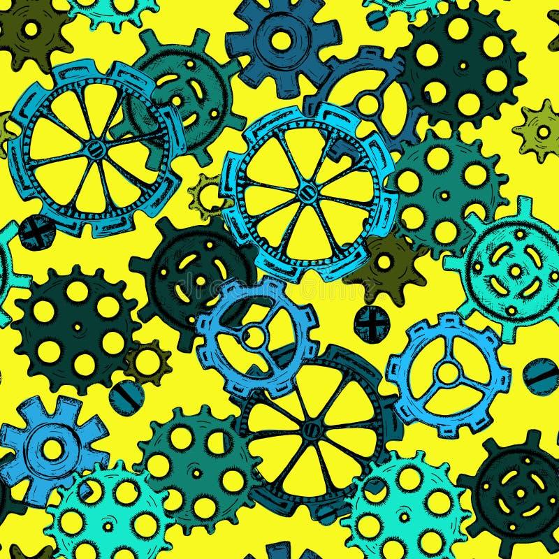 Entregue as roda-rodas do esboço do desenho, teste padrão sem emenda das engrenagens coloridas ilustração royalty free