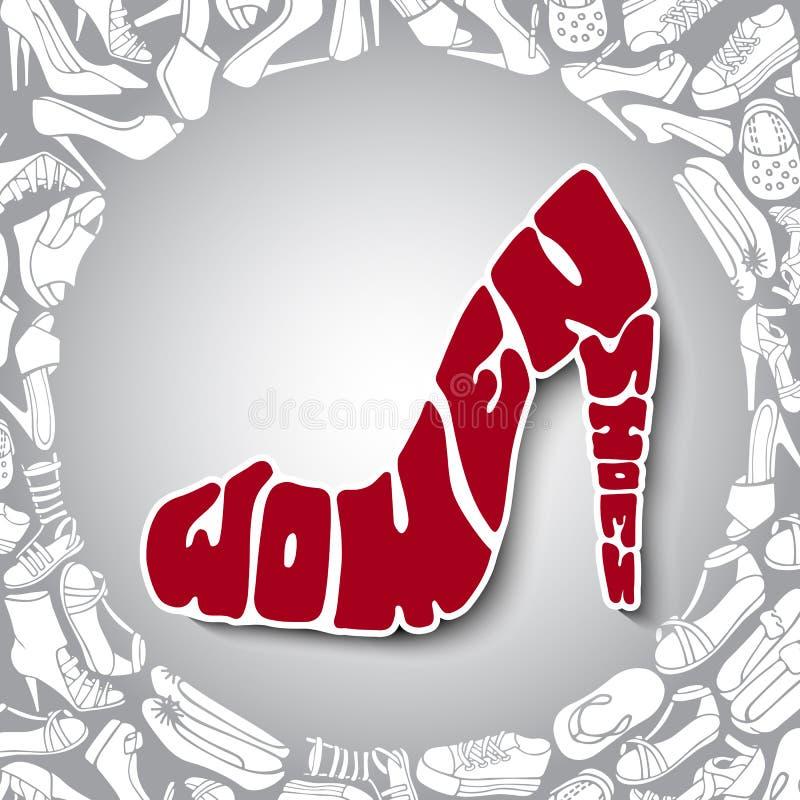Entregue as sapatas das mulheres tiradas com título no salto alto ilustração stock