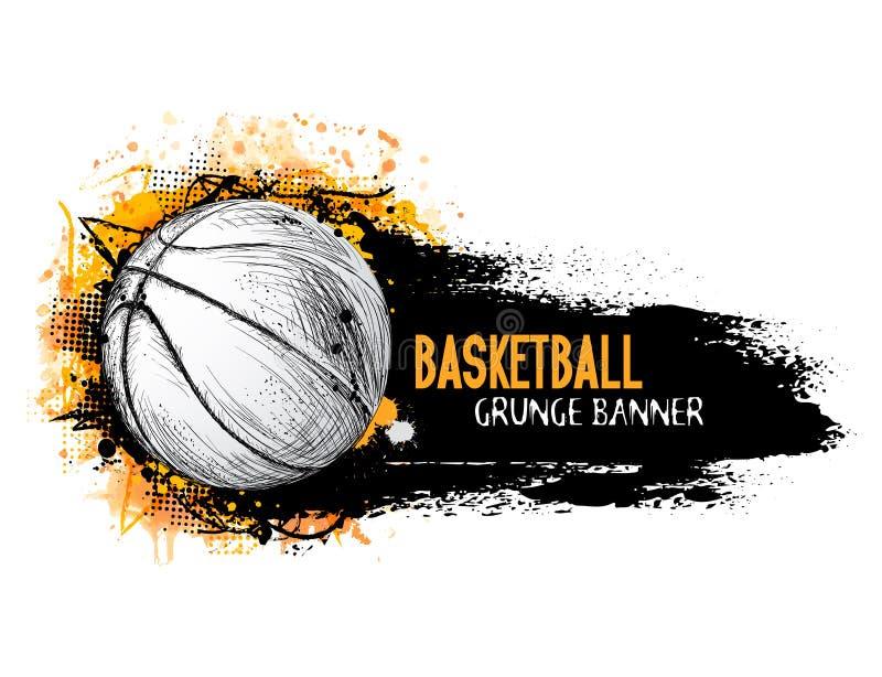 Entregue a bandeira tirada do grunge do vetor com bola do basquetebol ilustração royalty free