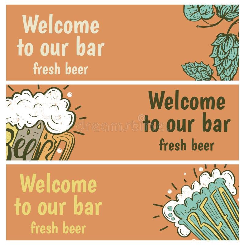 Entregue bandeiras tiradas com cerveja na caneca de vidro com cerveja do texto ilustração stock