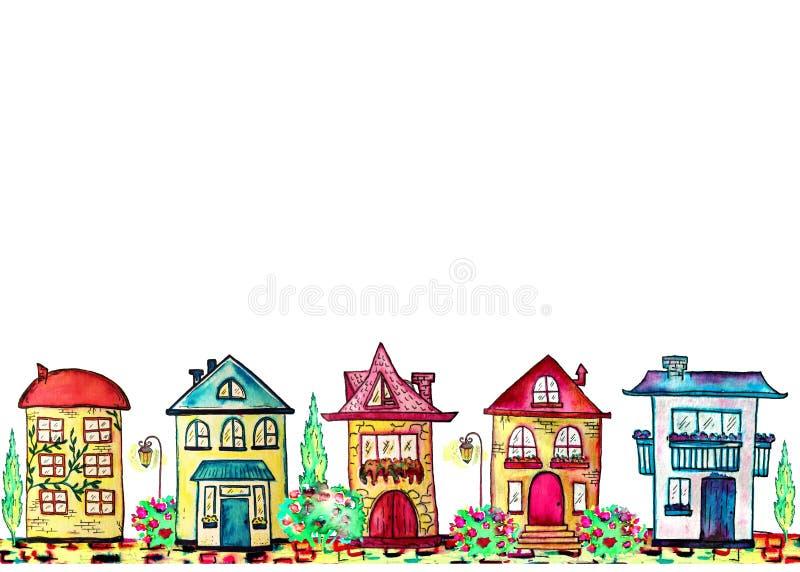 Entregue a beira tirada da rua da aquarela com casas, a árvore, e a lâmpada diferentes em um fundo branco ilustração do vetor