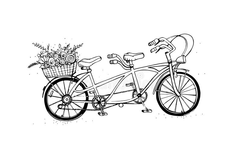 Entregue a bicicleta em tandem tirada da cidade com a cesta da flor Vintage, estilo retro Ilustração do vetor do esboço ilustração royalty free