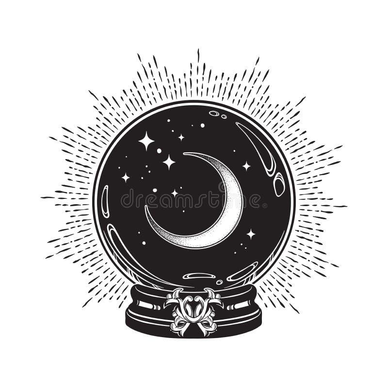 Entregue a bola de cristal mágica tirada com linha crescente arte da lua e das estrelas e trabalho do ponto DES chique da cópia d ilustração do vetor