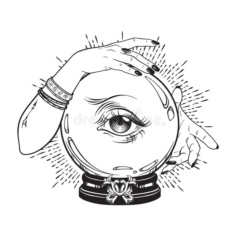 Entregue a bola de cristal mágica tirada com o olho do providência nas mãos do caixa de fortuna Linha chique véu p da tatuagem de ilustração stock