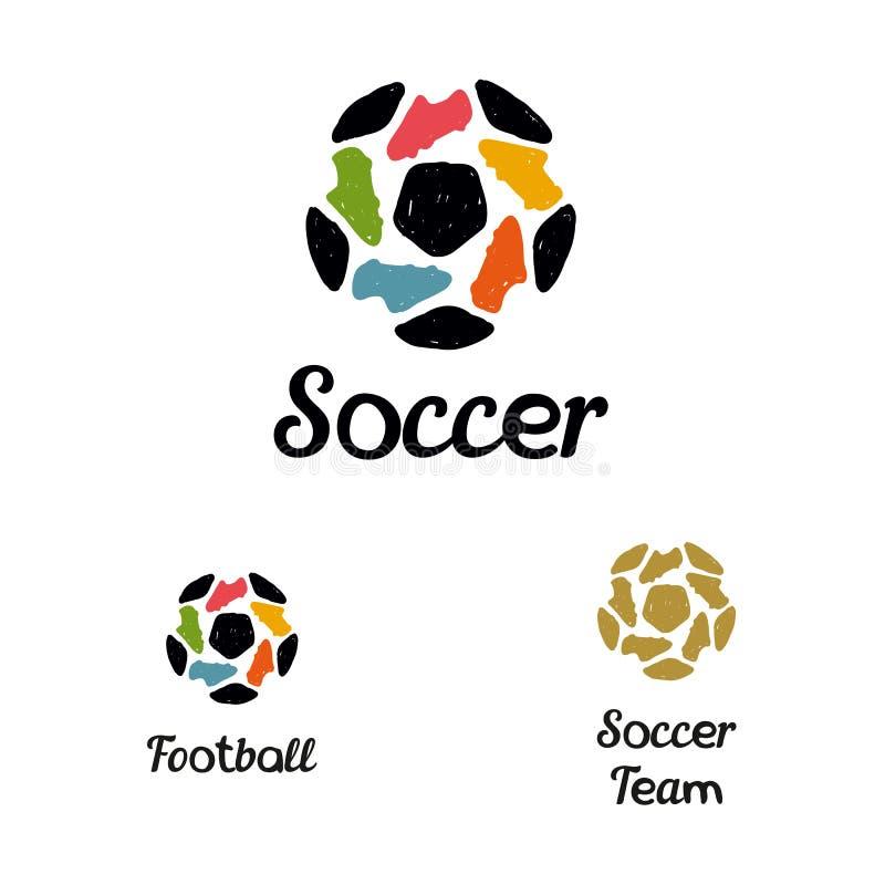 Entregue botas tiradas da bola e do futebol de futebol do logotipo ilustração stock