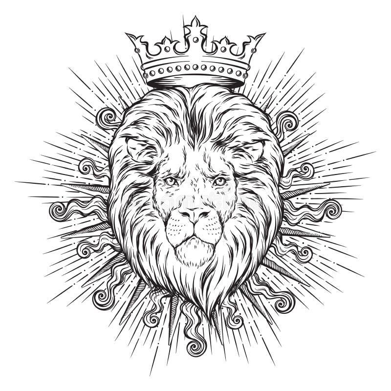 Entregue a cabeça coroada tirada do leão nos raios do sol isolados sobre o fundo branco ilustração do vetor