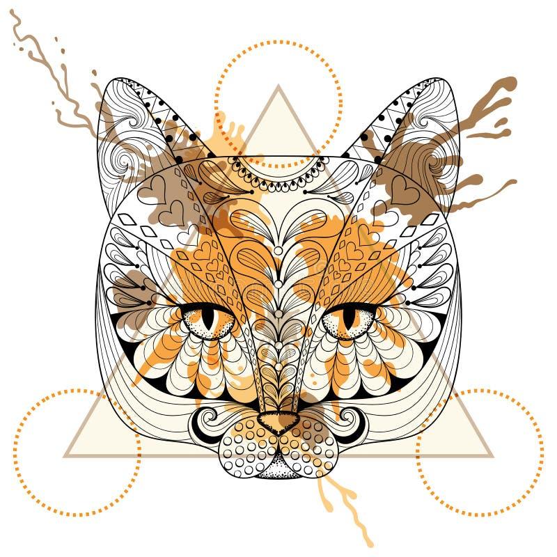 Entregue a cabeça tirada do gato do vetor para a página adulta da coloração no zentangle, ilustração royalty free