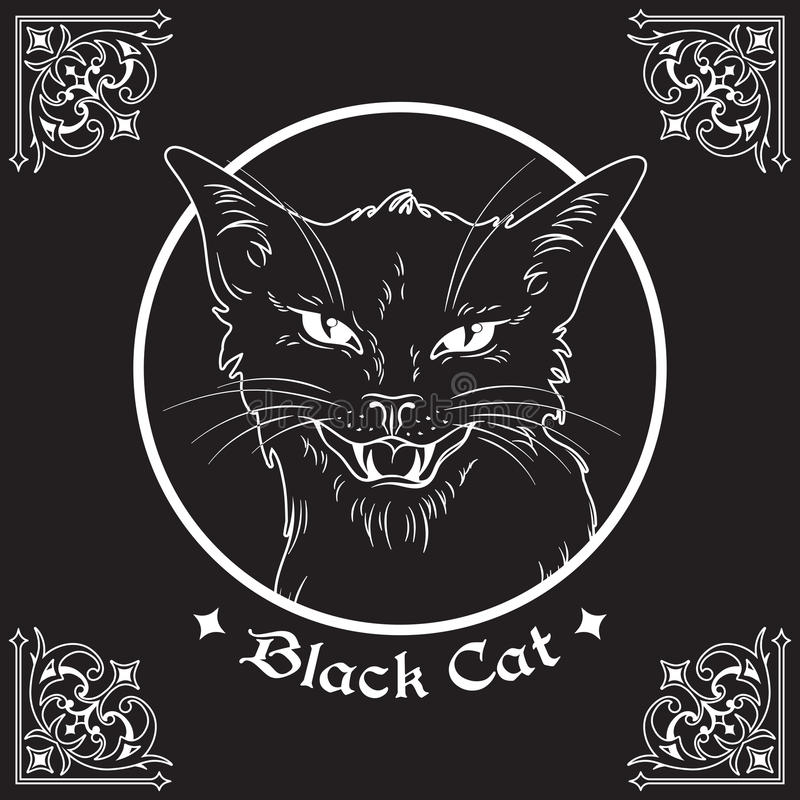 Entregue a cabeça tirada do gato preto no quadro sobre o fundo preto e elementos góticos ornamentado do projeto Espírito familiar ilustração stock