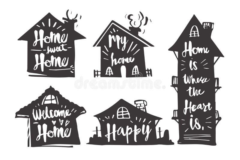Entregue a caligrafia tirada na casa da silhueta, casa doce da casa, meu h ilustração royalty free