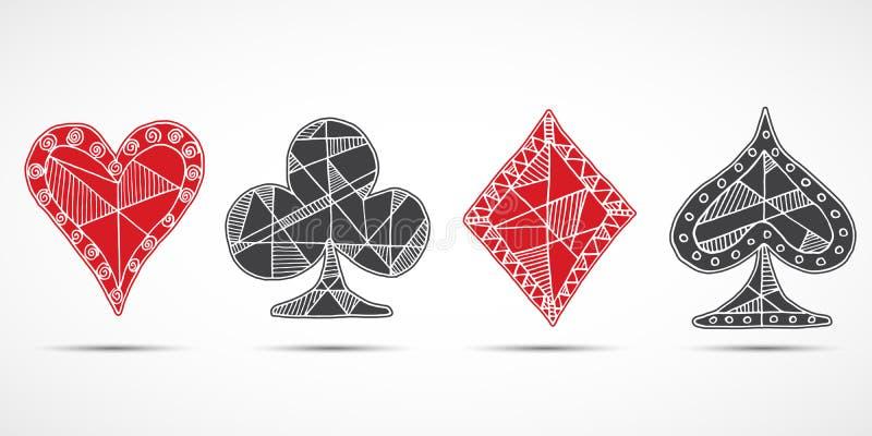 Entregue cartões de jogo esboçados tirados, pôquer, símbolo do vinte-e-um, fundo, pás dos diamantes dos corações da garatuja e ba ilustração stock