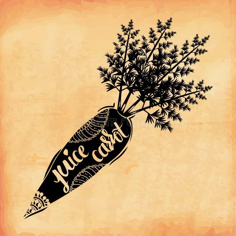 Entregue a cartaz da rotulação a vitamina da cenoura do suco vegetal no estilo retro velho Vetor ilustração stock