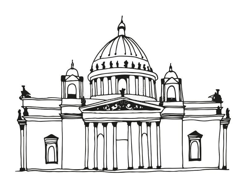 Entregue a catedral de Isaac tirado de Saint em St Petersburg, Rússia ilustração stock