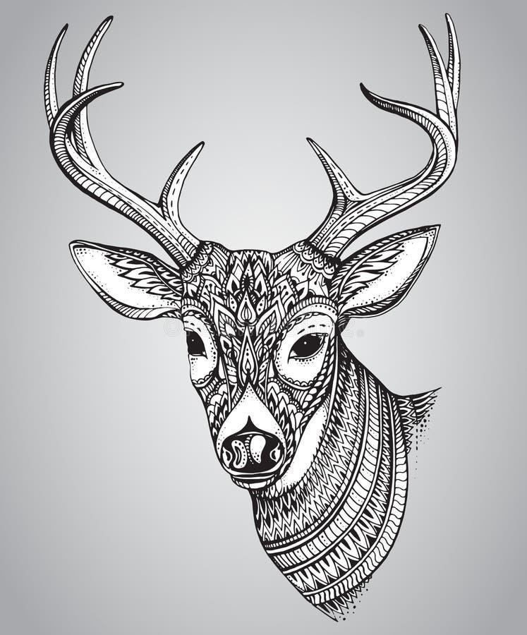 Entregue cervos horned tirados com o ornamento alto dos detalhes ilustração do vetor
