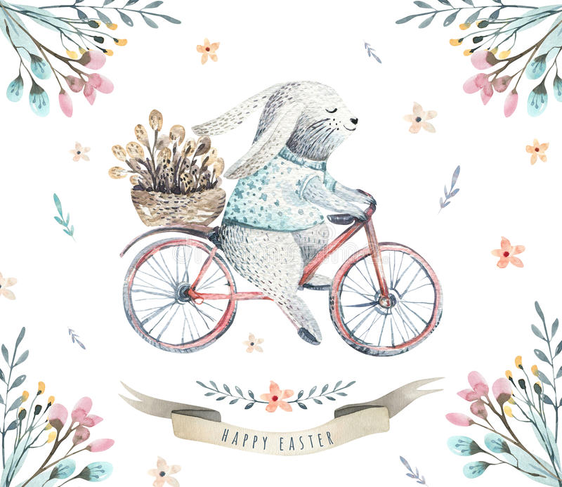 Entregue coelhos de tiragem dos desenhos animados da aquarela de easter com folhas, farelo ilustração do vetor