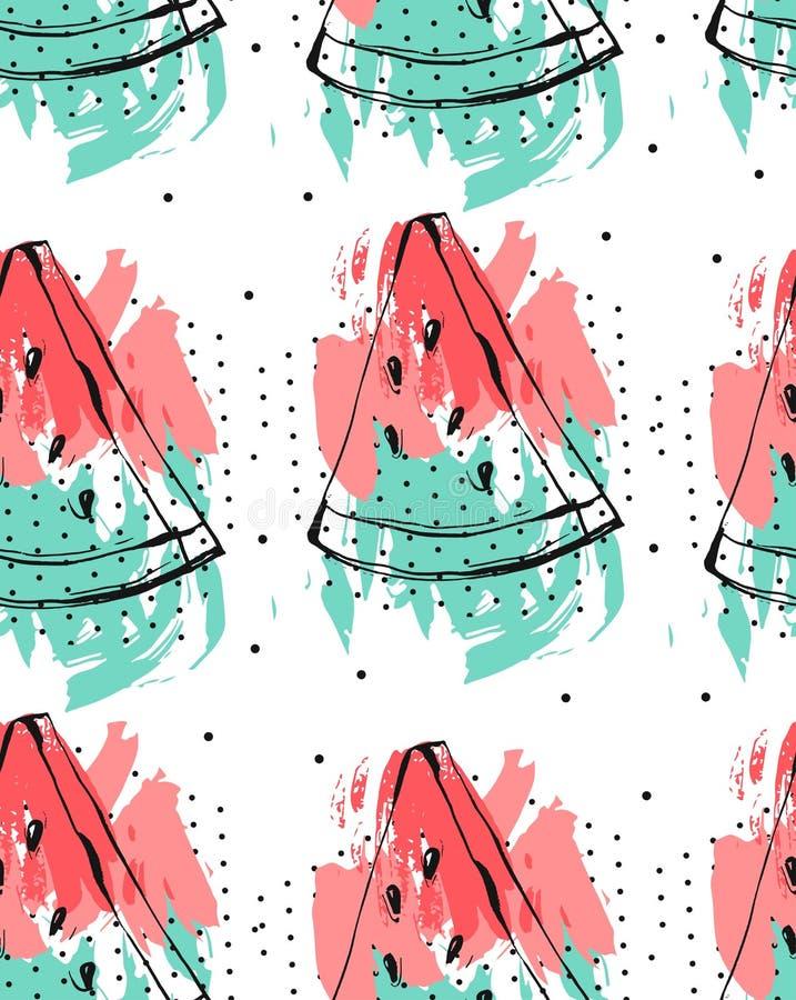 Entregue a colagem tirada do sumário do vetor o teste padrão sem emenda com o fruto da melancia isolado no fundo branco incomun ilustração stock