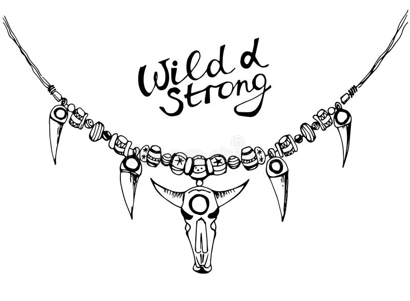 Entregue a colar tirada da tinta no estilo do boho - selvagem e forte ilustração do vetor