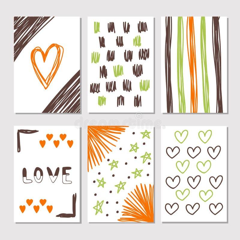 Entregue a coleção tirada de girar cartões com texturas românticas ilustração stock